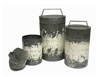 Farm Fresh Kitchen Canisters Metal Set of 3