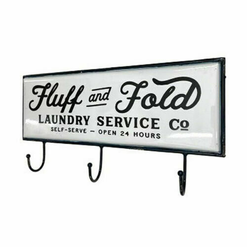 Metal Laundry Sign Wall Hook Black White Enamel