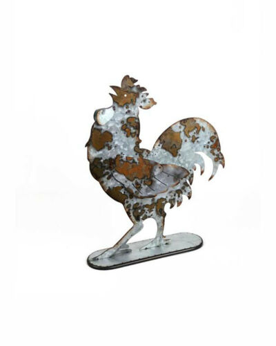Rooster Figurine Patina Galvanized Metal