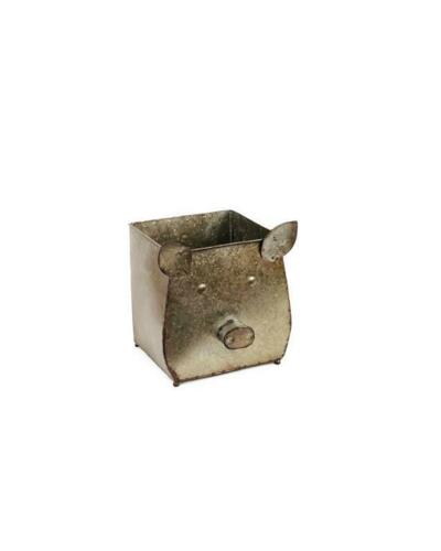 Galvanized Metal Pig Planter
