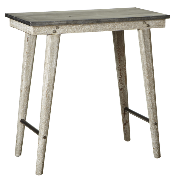 White Farm Side Table Wood & Metal