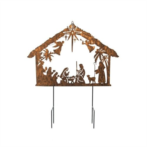 Nativity Metal Garden Stake with Star Solar Light