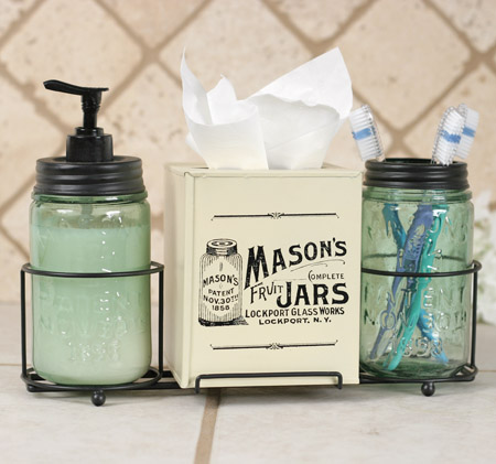 Mason Jar Tissue Bathroom Caddy