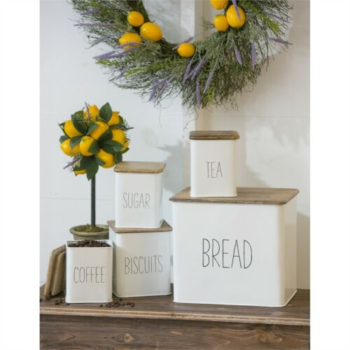 White Metal Kitchen Canister Set of 5