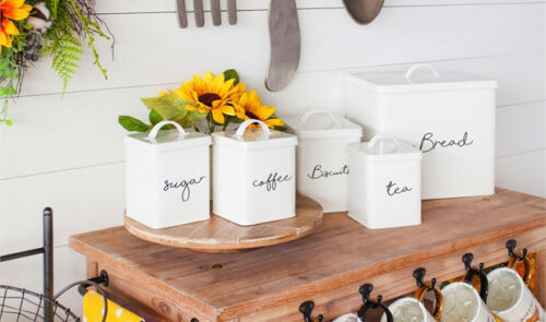 Kitchen Canisters White Biscuits Sugar Tea Coffee Brea