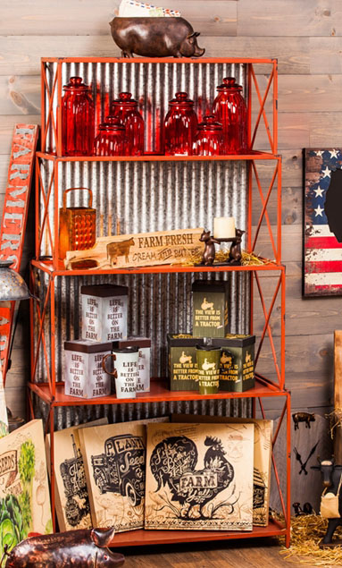4 Tier Corrugated Red Display Shelf