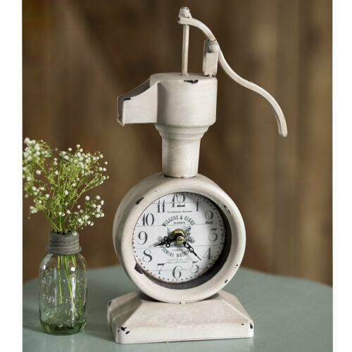 Water Pump Clock Vintage Distressed White