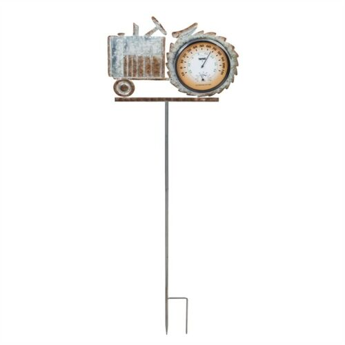 Tractor Thermometer Garden Stake Galvanized Metal
