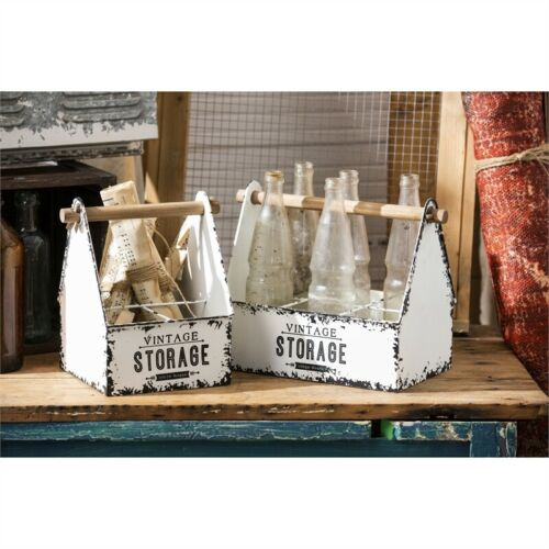 Bottle Caddy Set of 2 White Distressed Metal Bins