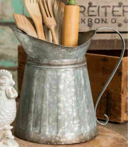 Utensil Holder Pitcher Galvanized Metal