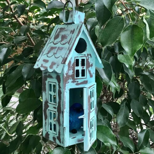 Green Metal Bird House or Lantern Distressed