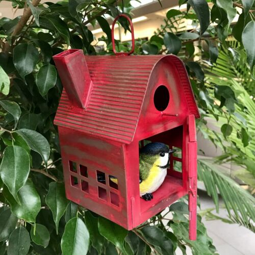 Red Metal Bird House or Lantern Distressed