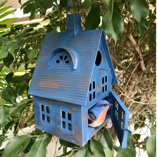 Blue Metal Bird House or Lantern Distressed