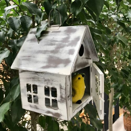 White Metal Bird House or Lantern Distressed