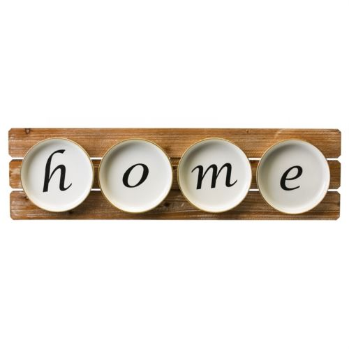 Home Plates on Wood Slat Sign