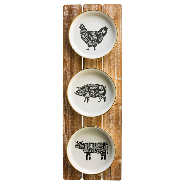 Farm Plate Wall Plaque Rooster Pig Cow