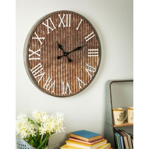 Galvanized Corrugated Wall Clock 23.5""