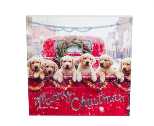 Farm Truck Puppies Christmas LED Canvas
