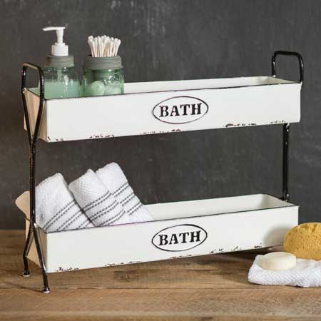 White Two Tier Bath Organizer