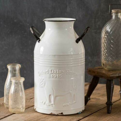 Milk Can Embossed Cow Distressed White Metal