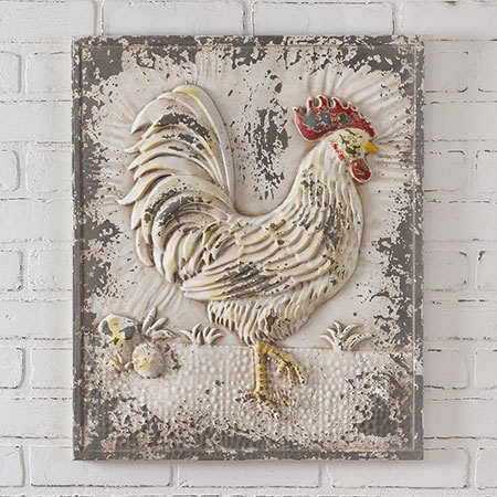 Embossed Metal Rooster Wall Plaque