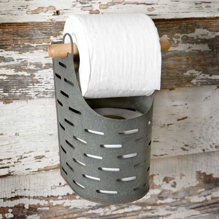 Metal Bucket Toilet Paper Holder
