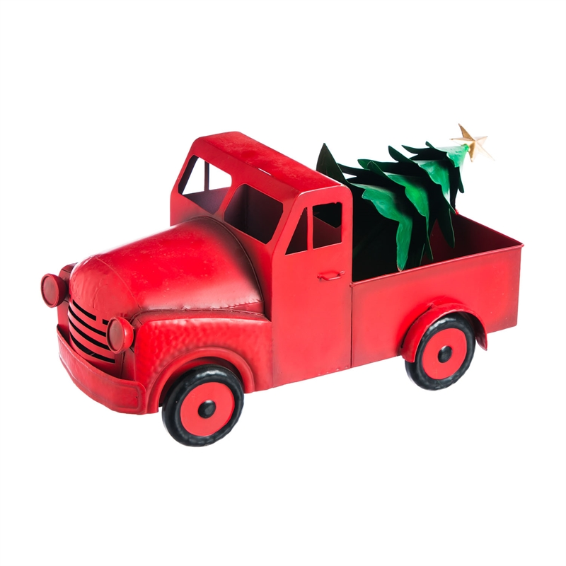 Red Farm Truck Christmas Tree Figurine Outdoor Safe