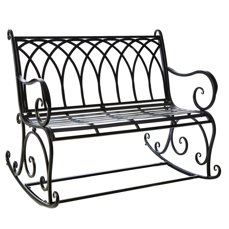 Black Metal Rocking Bench Outdoor Safe