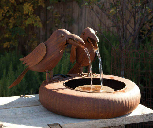 Crow Water Fountain Metal