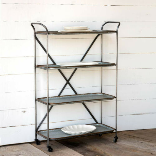 Industrial Metal Tray Cart 4 Removable Trays