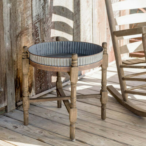 Corrugated Metal Tray Table Wood Stand