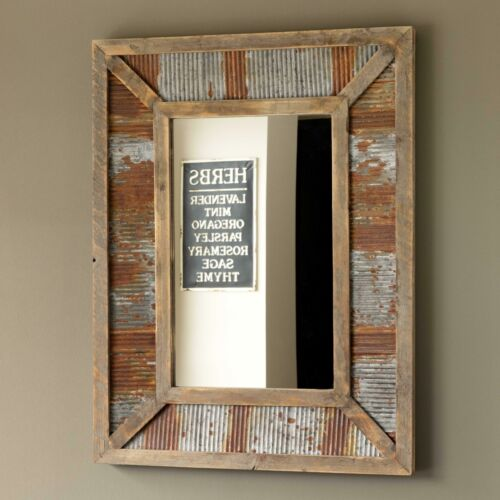 Wall Mirror Reclaimed Wood Corrugated Metal