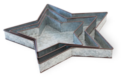 Metal Star Tray Set of 3