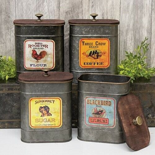 Kitchen Antique Label Canisters Set of 4