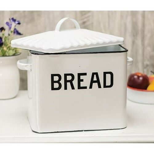 Enamel Bread Box White Black