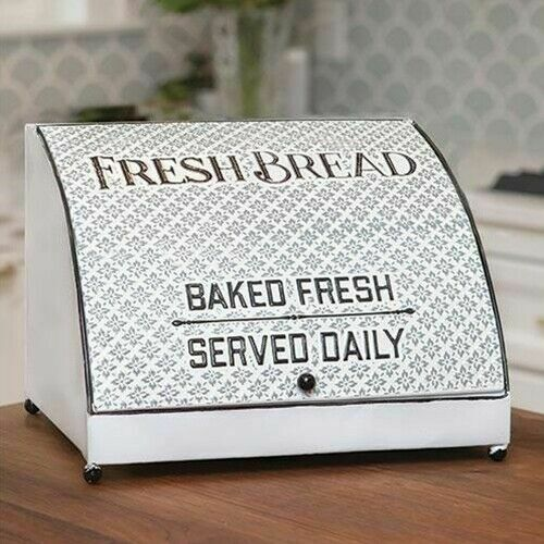 Fresh Bread Box White Metal