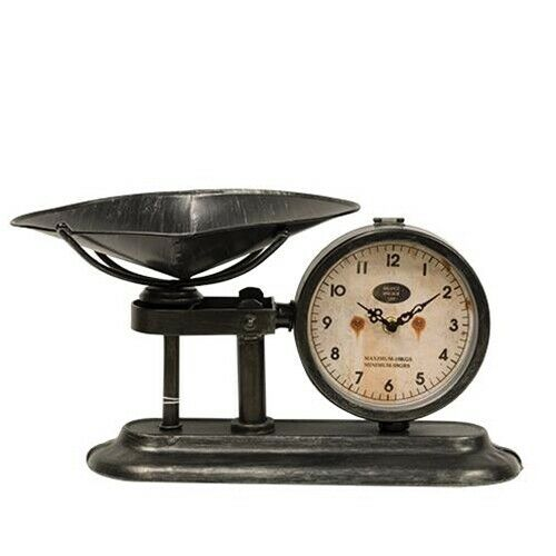 Kitchen Scale Clock Antique Distressed