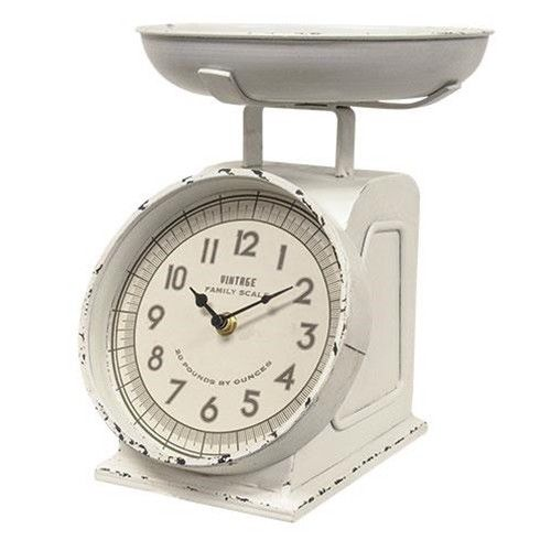 Kitchen Scale Clock White Distressed