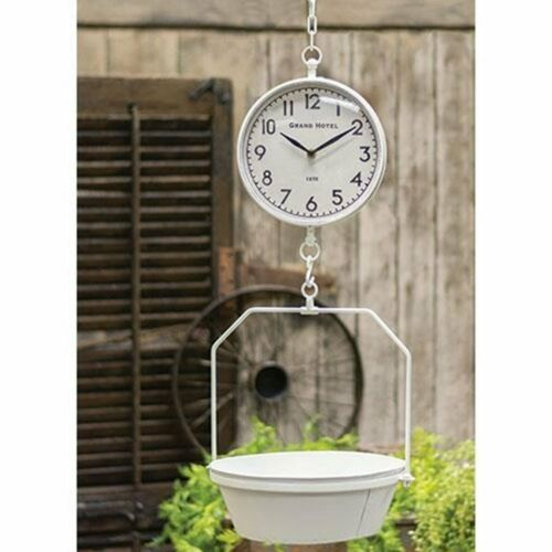 Kitchen Hanging Scale Clock White Metal