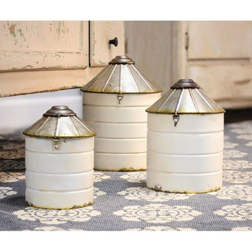White Metal Silo Canisters Set