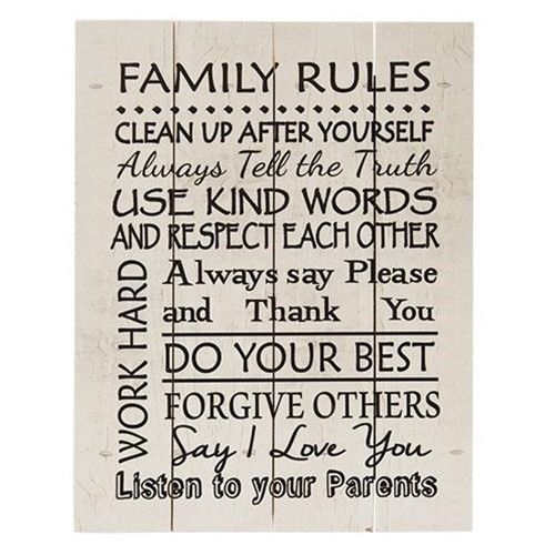 Family Rules Wood Slat Sign USA Made