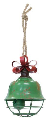 Large Bell Ornament Green Metal