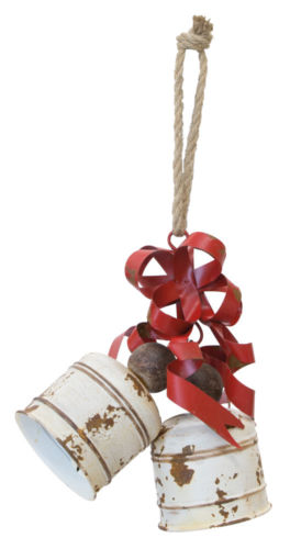 Large Bells Ornament White Red Metal