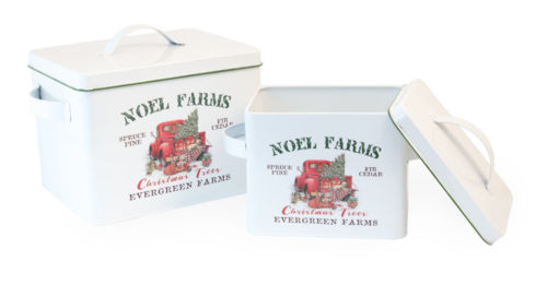 Farm Truck Tree Canister Set of 2 Christmas