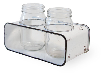Glass Jars with Metal Holder Distressed