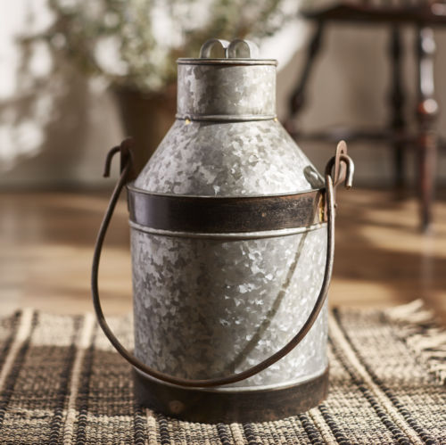 Galvanized Metal Milk Jug 15""