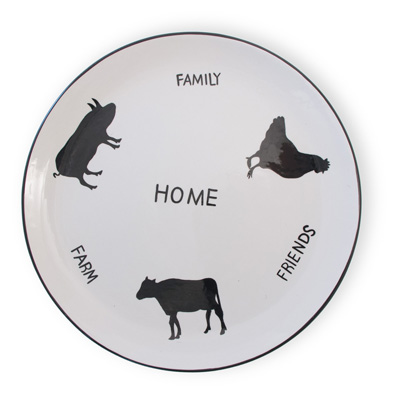 "Pig Cow Chicken 10"" Dinner Plate or Set"