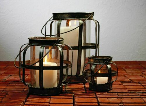 Galvanized Metal & Glass Lantern Rustic Candle Holder
