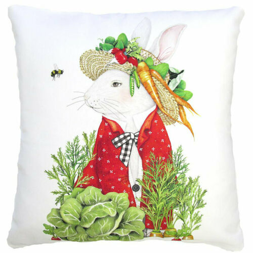 "Garden Rabbit Pillow 18"" Outdoor Safe"