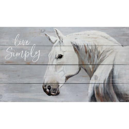 Live Simply White Horse Wall Sign